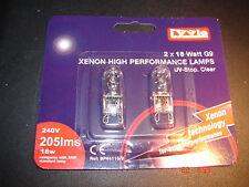 Cápsula de Xenón Bombillas Lámparas, 18W G9 base, UV-Stop claro, 240v, Pack 2 por Lyvia