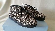 NIB Prada Leopard Print Calf Hair Espadrilles Platform Flat 36.5 Logo Lace 6.5