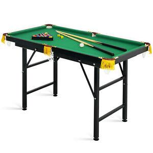 "47"" Folding Billiard Table Pool Game Table Indoor Kids w/ Cues Brush Chalk Balls"