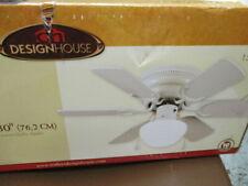 """Design House 152991 White 30"""" 6 Blade Hugger Ceiling Fan w/glass light kit - NEW"""