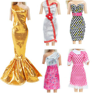 5x Outfit Elegant Party Mini Dress Gown Clothes for 11.5 inch Doll Accessories