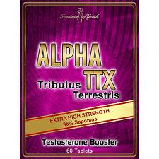 TRIBULUS TERRESTRIS EXTRACT 96% SAPONINS ALPHA TTX TESTOSTERONE BOOSTER PILLS