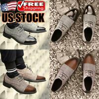 Mens Flat Leather Ankle Boots Dress Shoes Casual Lace Up Round Toe Chelsea Shoes