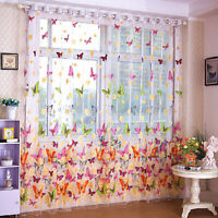 AU_ Butterfly Printed Tulle Voile Home Door Window Balcony Curtains for Living R