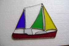 """Stain Glass Sailboat 3- Sails Blue/Green/Yellow Base is Red Approx. 6"""" X 5 1/2"""""""