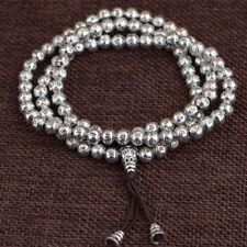 925 Sterling Silver Tibetan Buddhist Om Mani Padme Hum 108 Prayer Beads bracelet