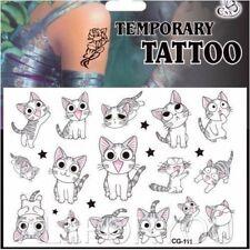 Cute Cat Cartoon Kids Boys Girls Temporary Tattoos Stickers Body Art