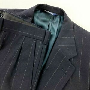 VTG Burberry's Men's 2-Button Suit Navy Blue Striped Wool Pleated • 44R | 40x30