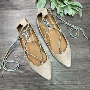 STEVE MADDEN Emilie Flats Pointed Toe Suede Size 10 Wrap