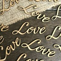 Personalised LOVE WORD Rustic OAK Wooden Wedding Table Wood Confetti Scatter