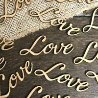 Personalised LOVE WORD Rustic OAK Wooden Wedding Table Wood Confetti Scatter