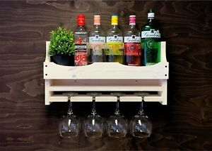 Rustic Shabby Chic Wooden Gin Bar Shelf Wine Rack Bottle 4 Balloon Glass (4GSC)