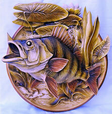 Carved Wooden Plate Carp nature 3d effect Beautiful details incredible gift