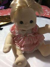 Vintage 1985 MY CHILD Baby Doll Cloth White Caucasian Blonde Hair Green Eyes