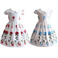 New Girls Summer Cotton Rose Party Dress Blue Red 4 5 6 7 8 Years