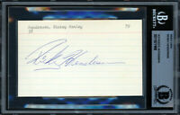 Rickey Henderson Autographed Signed 3x5 Index Card A's, Yankees Beckett 11077468