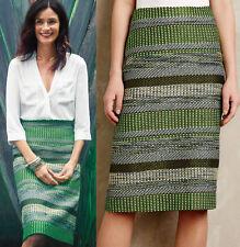 NWT ANTHROPOLOGIE Leifsdottir Striped Jade Skirt Green A-line Sz 4 Small $148