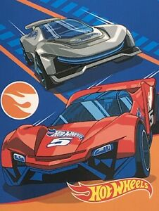 """Hot Wheels Throw Blanket 46"""" X 60"""" Polyester Super Soft Cuddly Racing"""