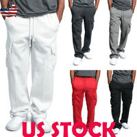 US Men's Casual Multi-pocket Straight Cargo Pants Sports Jogging Solid Trousers