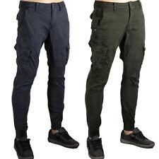 Pantaloni Uomo Cargo Tasconi Slim Fit con Tasche Laterali Multi-Tasche Militari