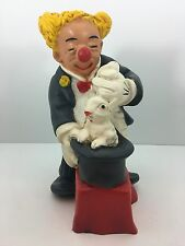 Vintage Universal Statuary Co. 1989 Clown Statue Pulling Rabbit Out of Hat 688