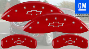 2009-2017 Chevy Traverse Front + Rear Red MGP Brake Disc Caliper Cover Bowtie