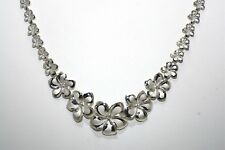 "GRADUATED SOLID 14K WHITE GOLD DC HAWAIIAN FANCY PLUMERIA NECKLACE 20"" 18.2gr"