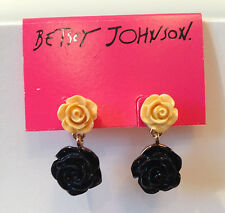 NWT Rare Betsey Johnson Black and Yellow Rose Flower Drop Dangle Earrings