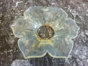 Antique Lemon Vaseline Glass Flower Chandelier Bobeche Candle Holder Drip Dish