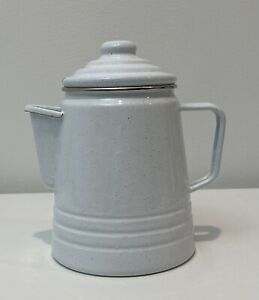 Vtg Enamel Percolator Stove Coffee Pot White W Speckles, Home/ Camping /Decor