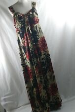Marks and spencer dress size 10 beige black red floral sleeveless maxi dress