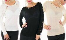 SeXy Damen Pullover Pulli Glitzer Lurex Ösen gold 34/36/38 schwarz beige weiß