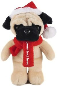 Plushland Customized Christmas Stuffed Animal with Hat and Scarf 12 Inch Pug