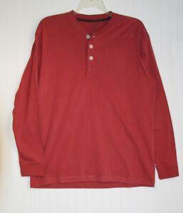Men's Large NEW long sleeve Henley cotton T-shirt rose red color JA John Ashford