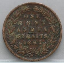 Straits Settlements 1 one cent 1862 Queen Victoria - KM# 6