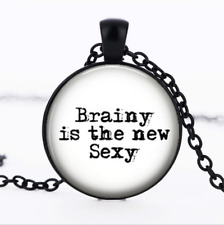 Brainy is the New Sexy Black Glass Cabochon Necklace chain Pendant Wholesale