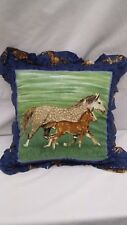 """Mama and Baby Horse    16"""" Throw Pillow"""