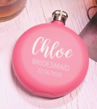 Personalised Engraved Wedding Hen Brides Gift Hip Flask Bride Pink Maid 5oz