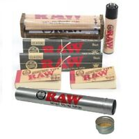 RAW Rolling Paper Bundle King Size Black+110mm Roller+Lighter+Tips+Storage Tube