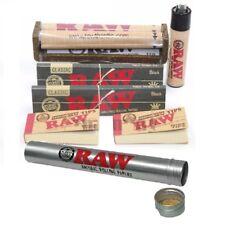 RAW Rolling Paper Bundle King Size Black+110mm Roller+Lighter+Tips+Storage Tube