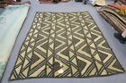 """Painted Burlap / Jute Tapestry African Theme Coverlet Rug 68"""" x 87"""" 13 Panels"""