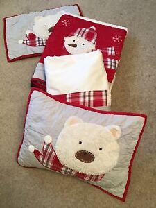 Pottery Barn Kids Christmas~Dear Santa Quilt, 2 shams, & crib skirt