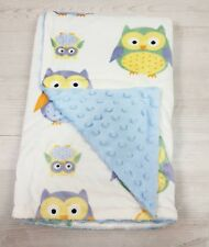 Baby Blue Owl Blanket Baby Boy double sided Cot Pram Blanket Wrap