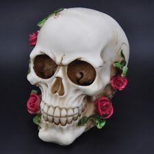 "Romantic Skull with Red Roses Skeleton Head Halloween Decor Figurine Statue 5.4"""