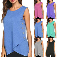 Women Asymmetric Tank Top Sleeveless Summer Casual Vest T Shirt Blouse Plus Size