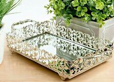 Decorative Mirrored Silver Vanity Tray | Perfume Jewelry Makeup Organizer Mirror