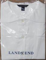 Lands' End - Women's 10 - Solid Crisp White Sailor Collar Blouse Uniform Shirt