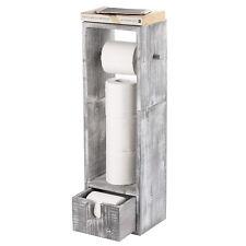 Wooden Toilet Paper Roll Storage Holder Stand Organiser With Storage Drawer Gray