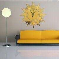 3d Sun Pattern Fashion Wall Clocks Diy Mirror Sticker Living Room Home Art Decor