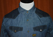G-Star RAW Two Tone Indigo Blue Chambray Yoke L/S Mens Denim Shirt XL Slim Fit